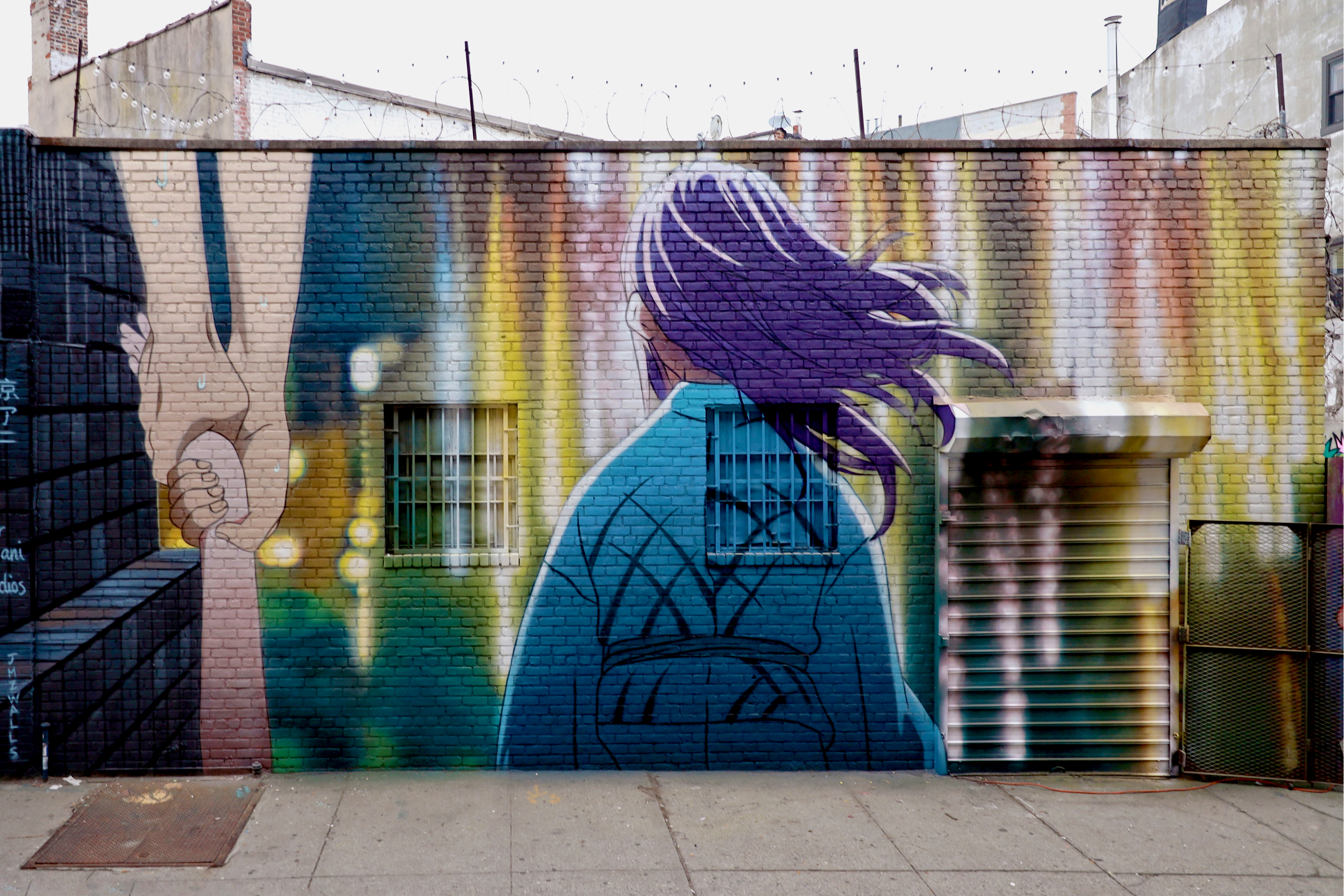 <b>Ganbare</b><br>Brooklyn NY<br>with JMZ Walls, Jan 2020<br>photo by @just_a_spectator<br>Scenes from 'A Silent Voice' from KyoAni Studios