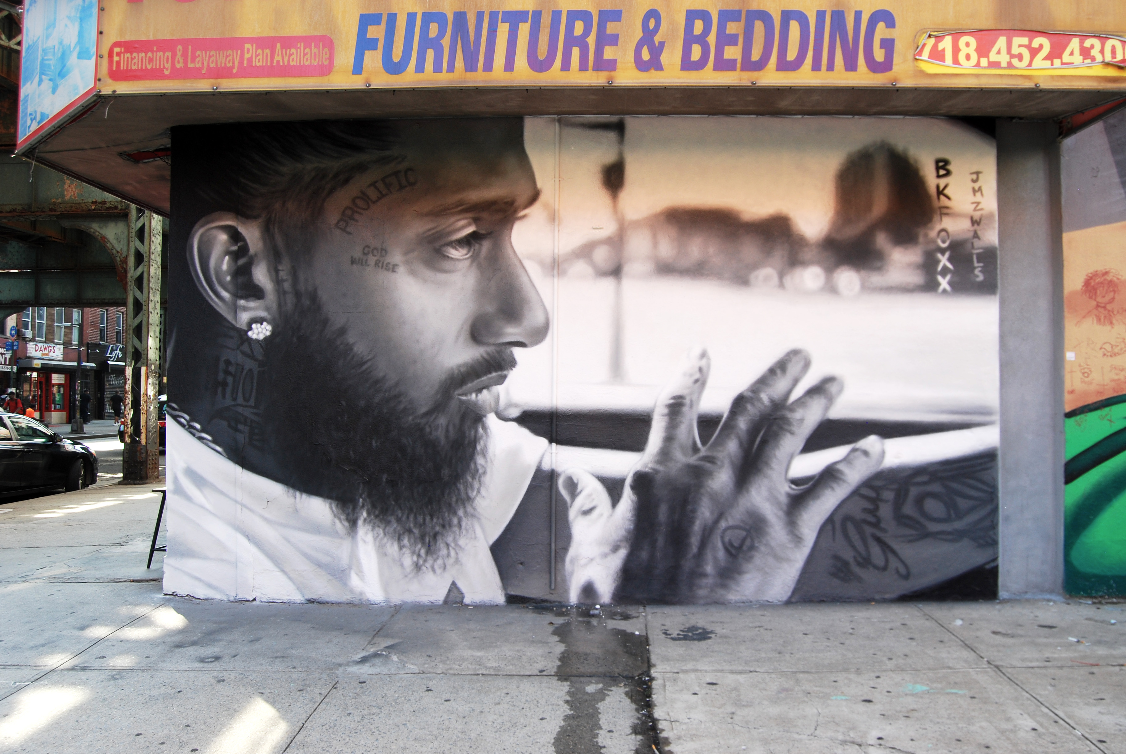 <b>Marathon Plan</b><br>portrait of Nipsey Hustle<br>Brooklyn, NY<br>with @jmzwalls, July 2019<br>original photo taken by Bobby Kim @bobbyhundreds